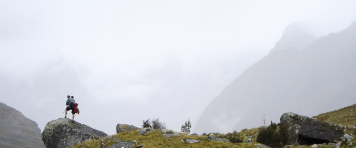 Robert overlooking a misty valley on the Santa Cruz trek in Peru